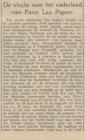 vlucht pater pijpers kimburgs dagblad 18-06-1940