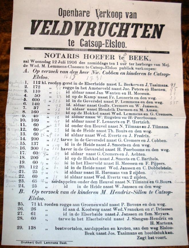 Document openbare Verkoop van Veldvruchten