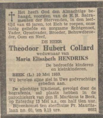 12-05-1933 doodsadvertentie th. Collard