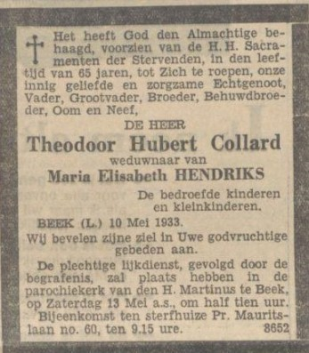 12-05-1933 doodsadvertentie th. Collard