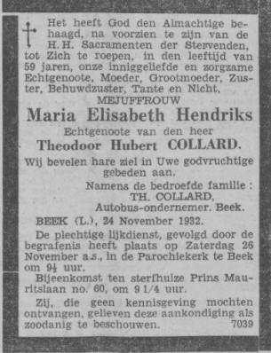 25-11-1932 overlijden collard hendriks